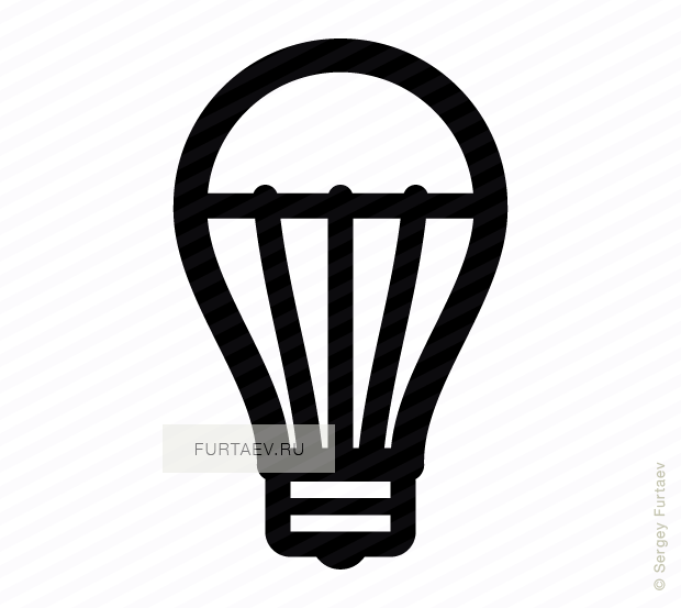 black and white stock LED light bulb vector icon