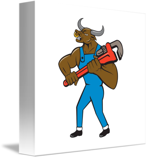 clipart black and white download Bull clipart minotaur. Plumber wrench isolated cartoon