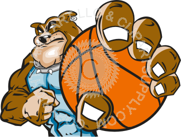 vector black and white stock Holding . Bulldog clipart basketball