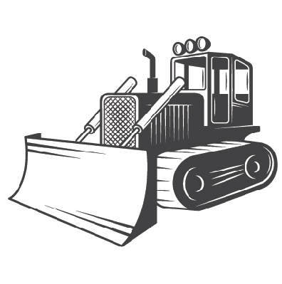 banner freeuse library Black and white the. Bulldozer clipart.