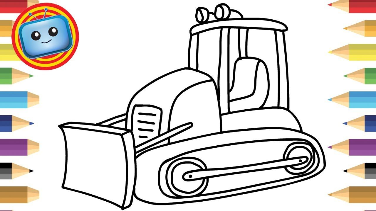clipart library download How to a colouring. Bulldozer clipart draw