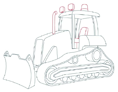 jpg black and white Bulldozer clipart draw. Transparent free for