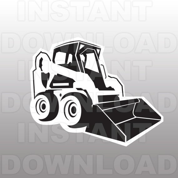 clipart Svg file cutting template. Bulldozer clipart excavator bobcat.
