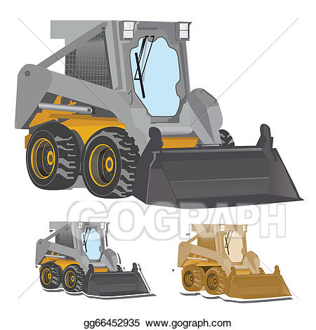picture black and white library Eps vector stock illustration. Bulldozer clipart excavator bobcat.