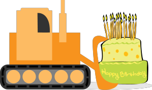 vector royalty free library Bulldozer with Cake
