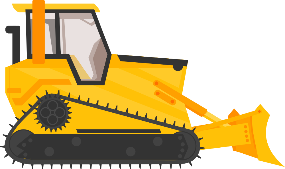 banner black and white Onlinelabels clip art . Bulldozer clipart machinary