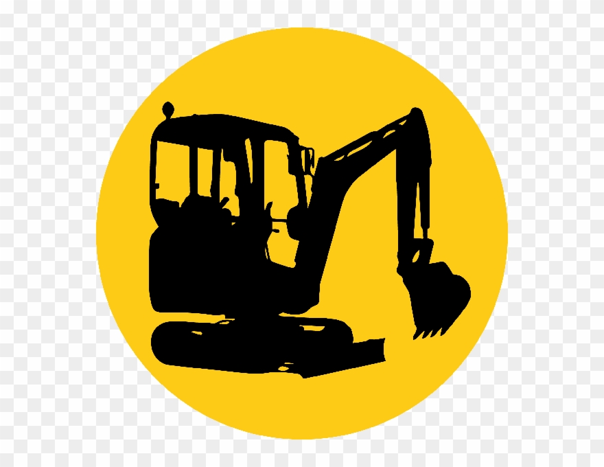 picture library library Bulldozer clipart mini digger. Silhouette at getdrawings png