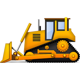 banner black and white Yellow Bulldozer Icon