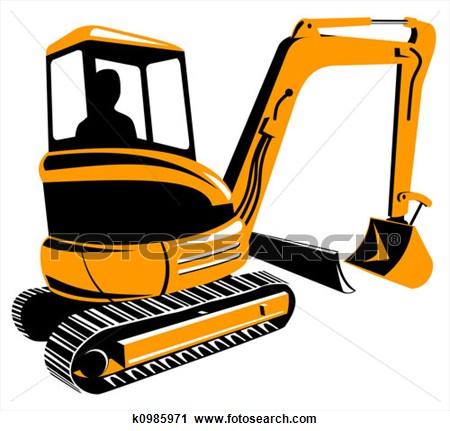 clip black and white Bulldozer clipart mini digger. Excavator