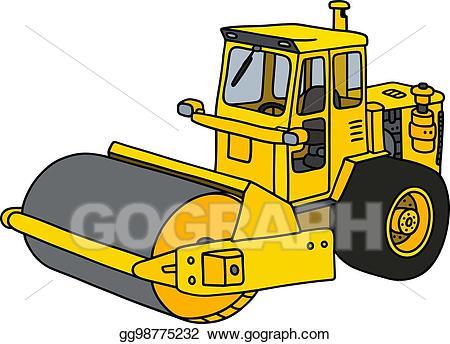 clip art free library Bulldozer clipart road roller. Eps illustration yellow vector.
