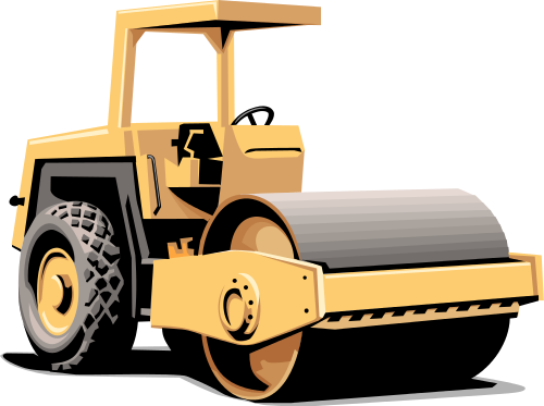 vector royalty free Pavement working vehicles png. Bulldozer clipart road roller.