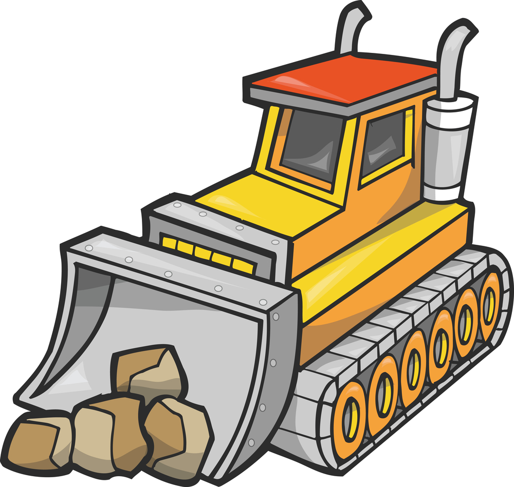 picture black and white library . Bulldozer clipart truck.