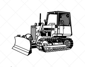 clip transparent download Black and white free. Bulldozer clipart vector.
