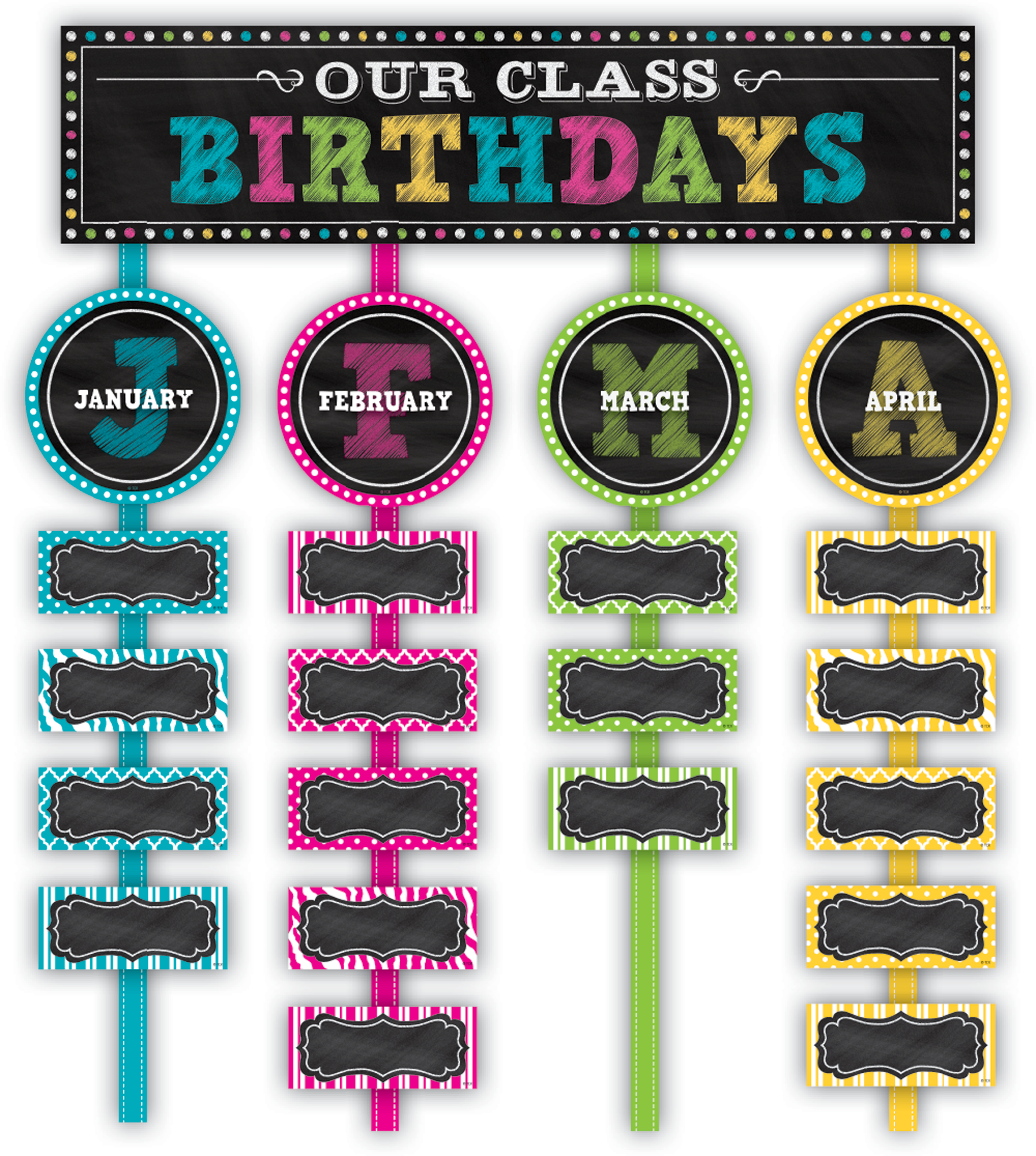 royalty free Brights our class birthdays. Bulletin clipart chalkboard