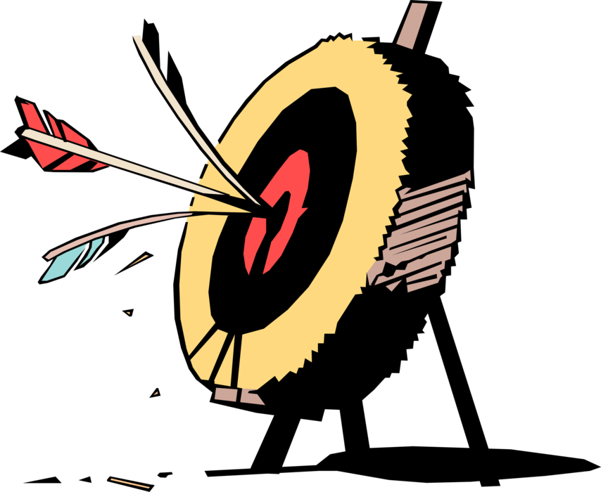 download Bullseye clipart medieval archery. Arrows hit vector image.