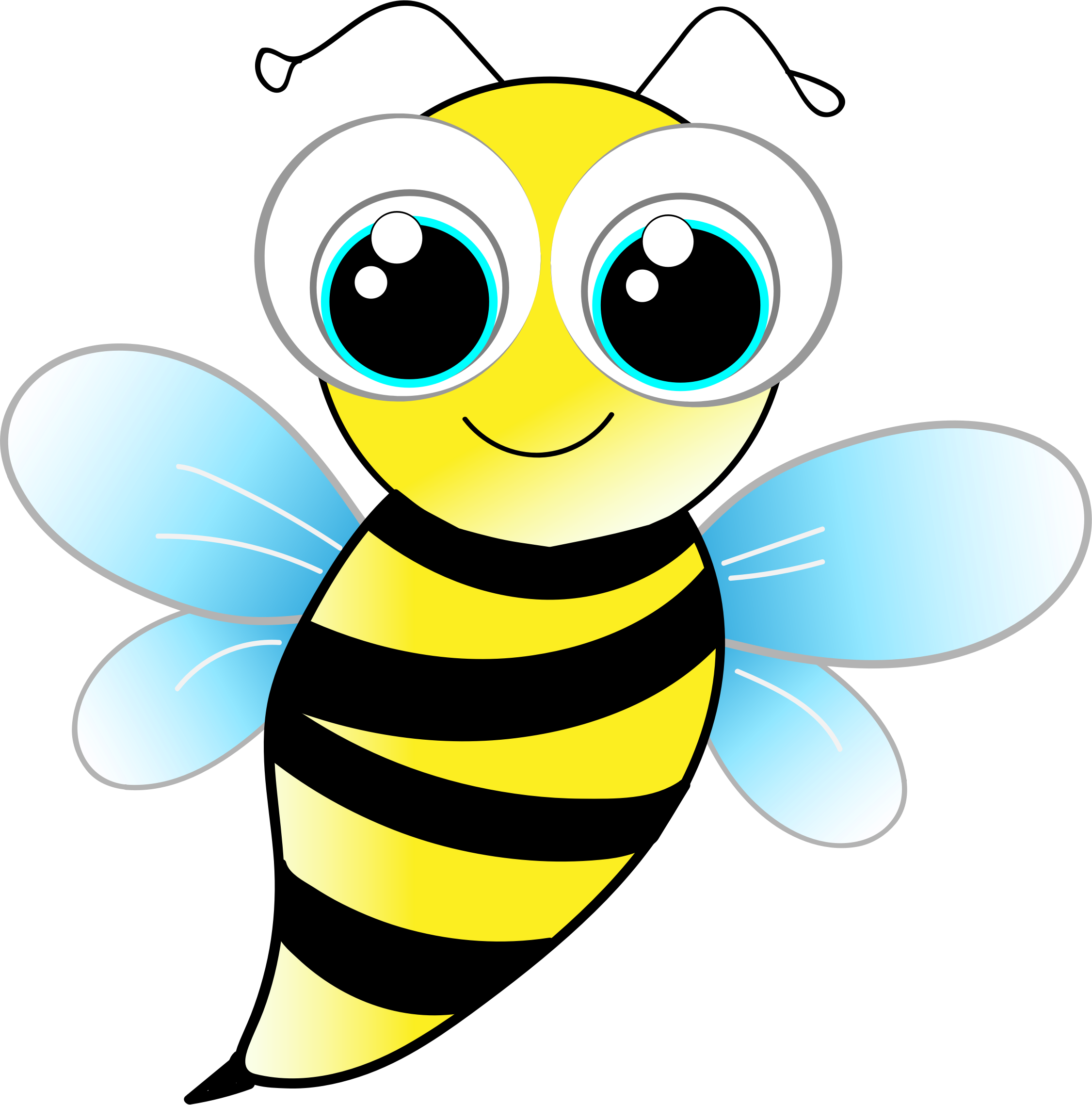 vector black and white stock Bee by a tauzzi. Bumblebee clipart kawaii