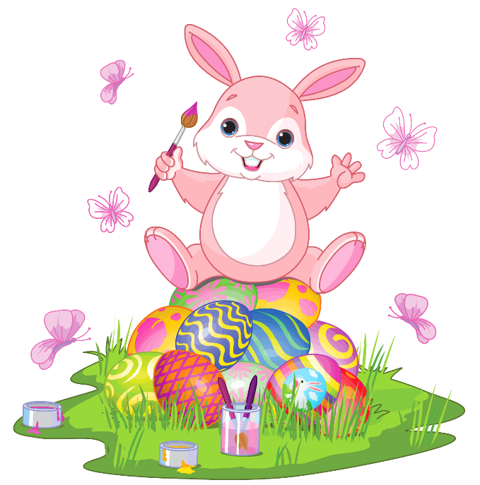 banner royalty free Easter bunny with eggs. Bunnies clipart home