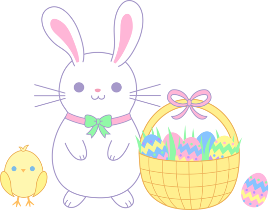 png black and white Easter bunny and chick. Bunnies clipart pastel