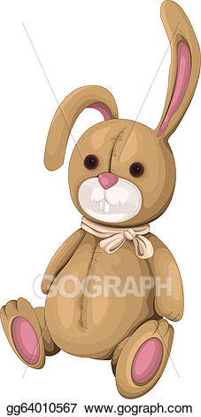 graphic royalty free download Bunnies clipart toy. Vector plush bunny illustration