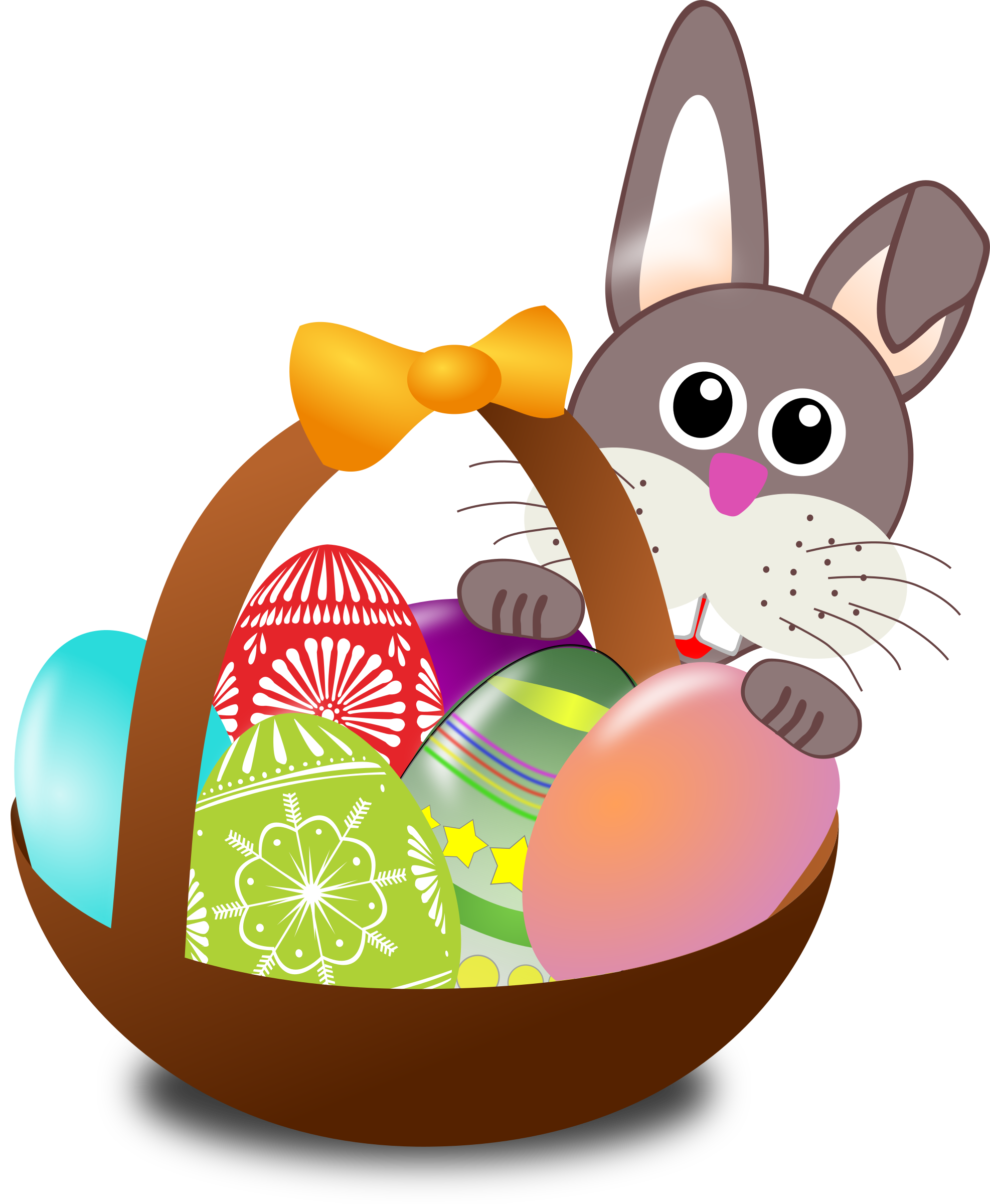 banner black and white stock Bunny clipart basket. Funny face with easter.