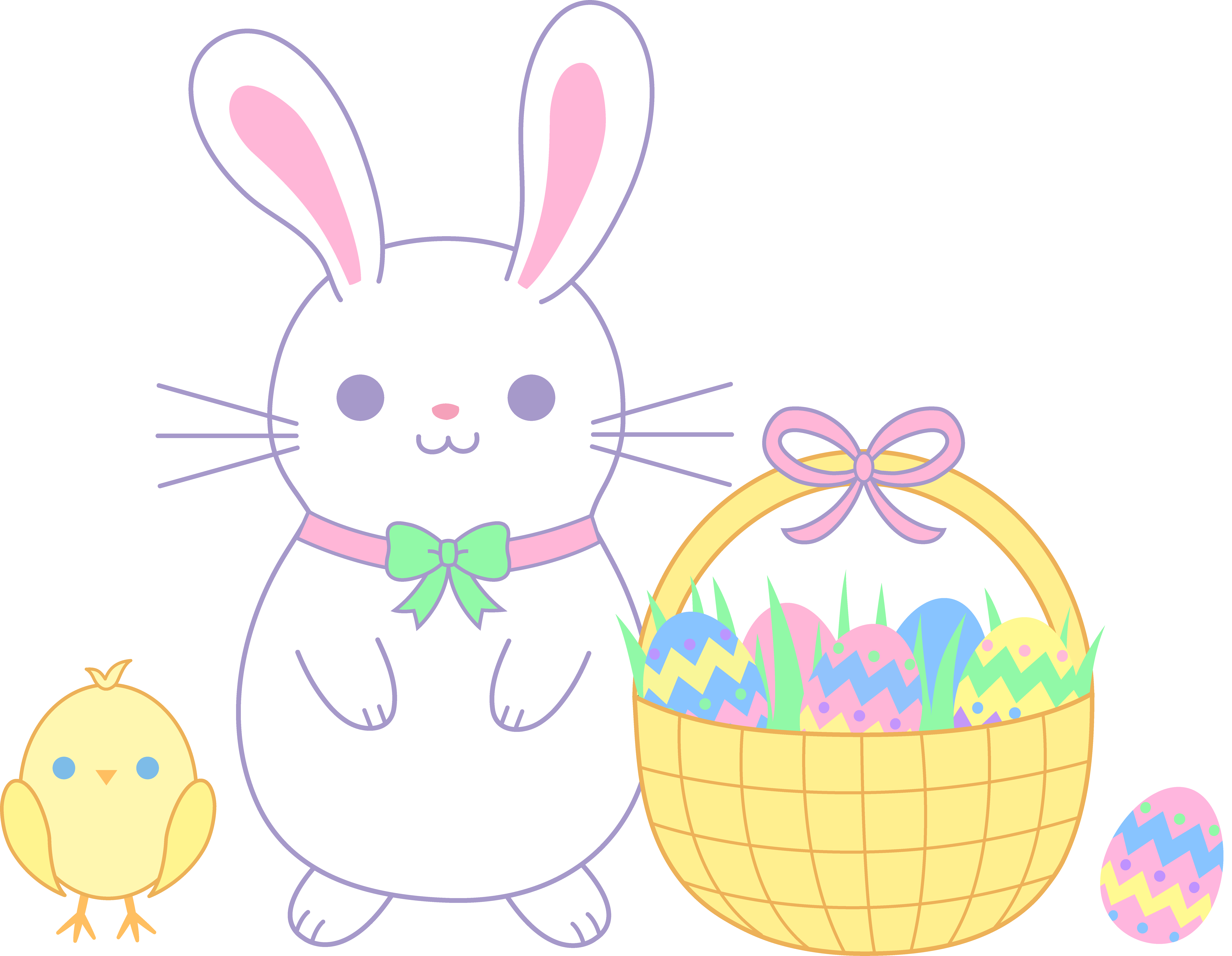 png freeuse download Bunny clipart basket. Easter and chick with.
