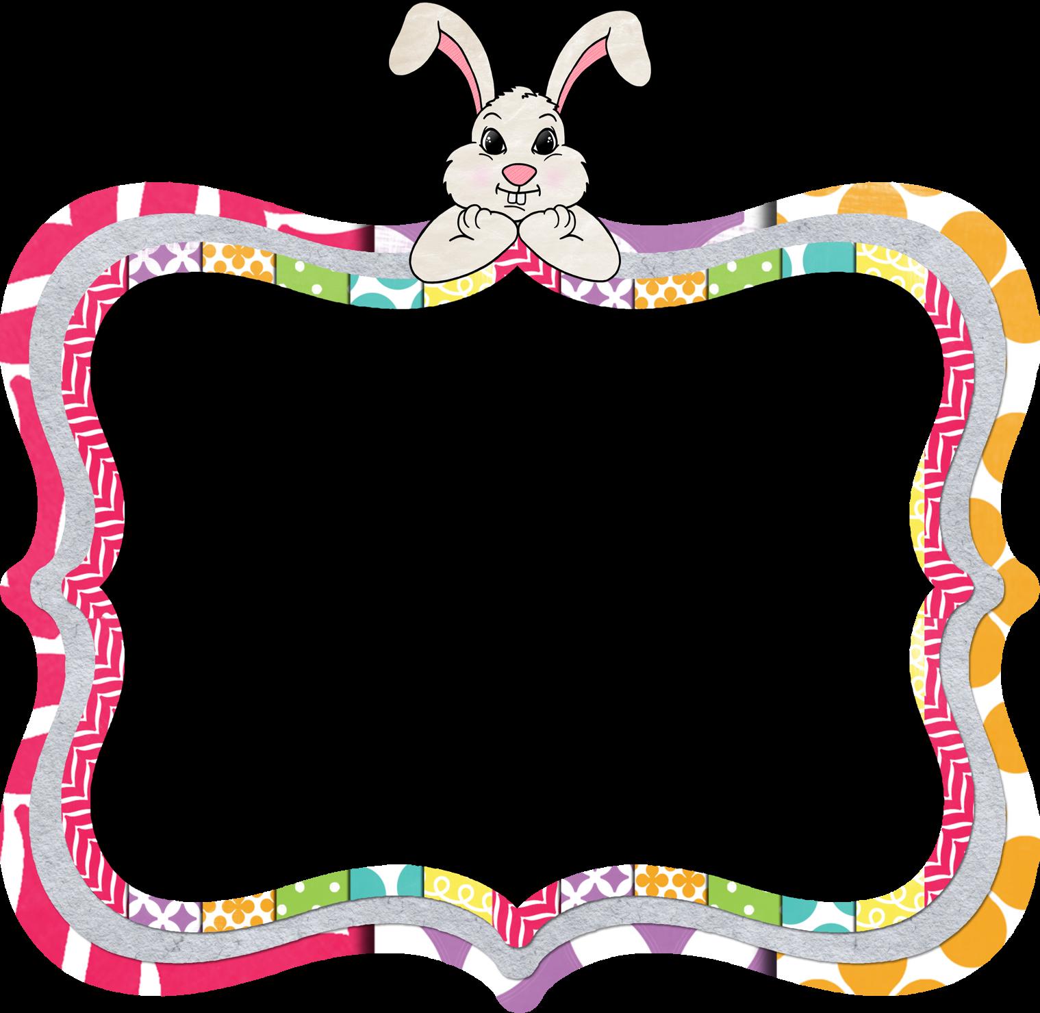 vector stock Bunny clipart frame. The am teacher happy.