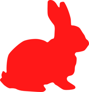 banner freeuse library Bunny clipart silhouette. Red clip art at