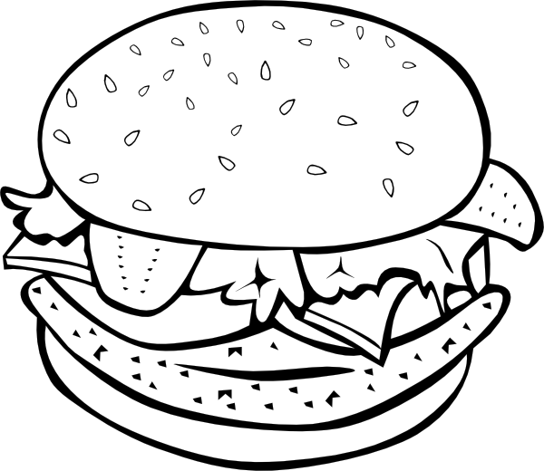 image library download Burger and fries clipart black and white. Chicken b w clip.