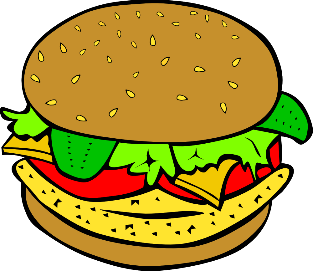 graphic black and white stock . Burger clipart.