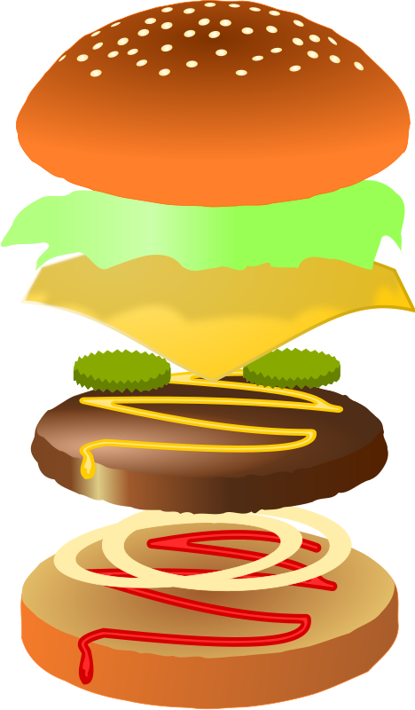 transparent library Vector burger buger. Hamburger clipart layer free