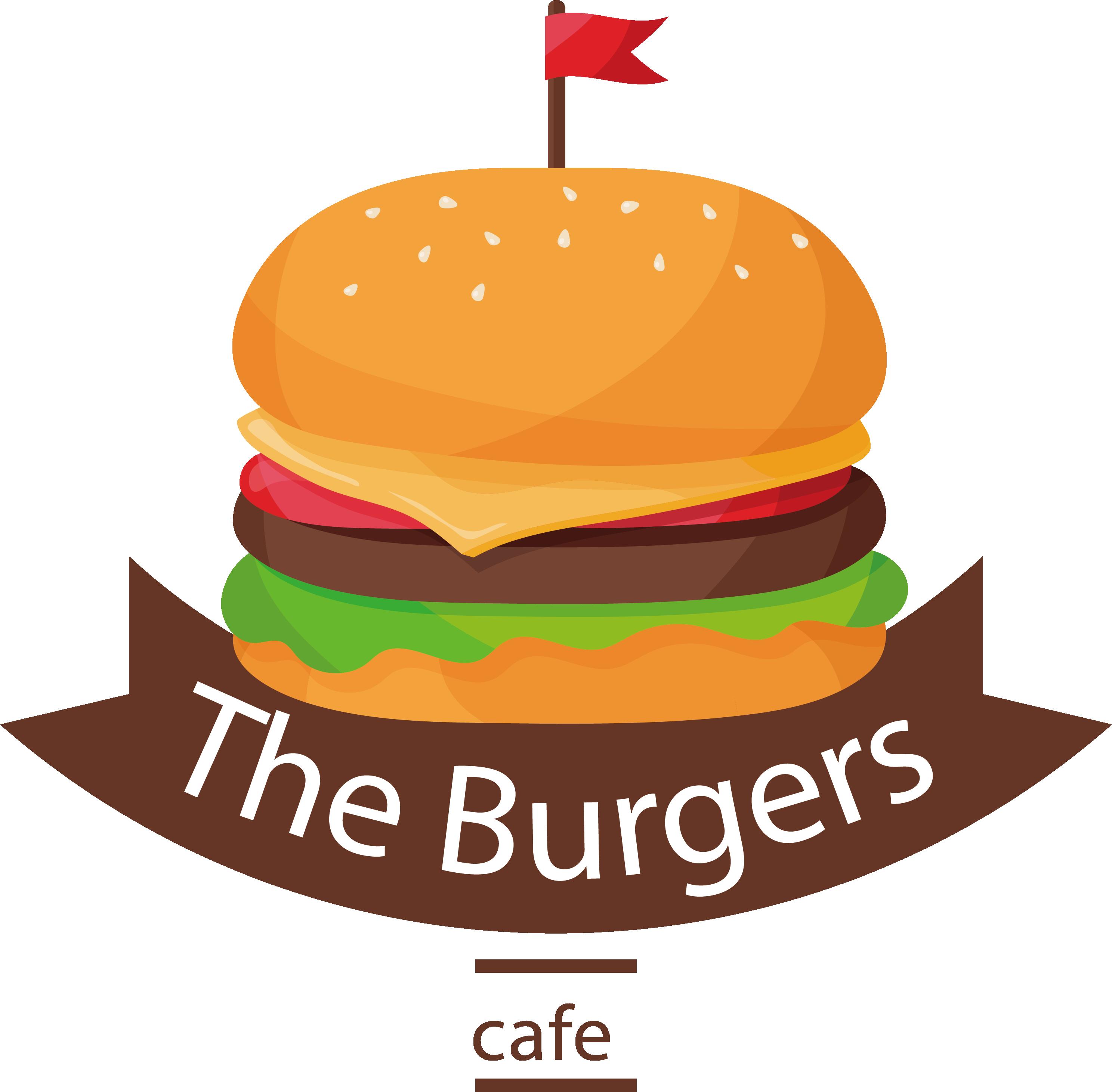 image freeuse stock Cheeseburger fast food logo. Hamburger clipart cola
