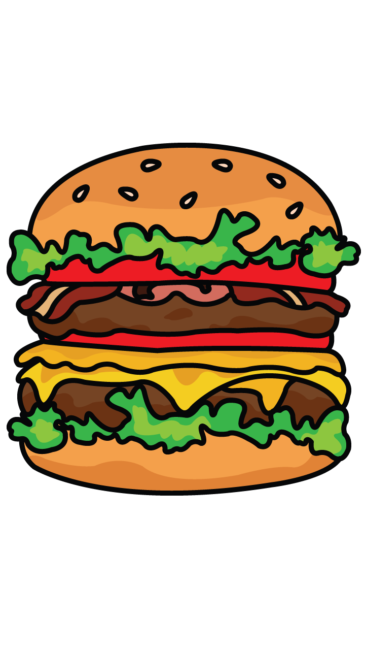 clipart black and white library How to draw step. Burger clipart eye
