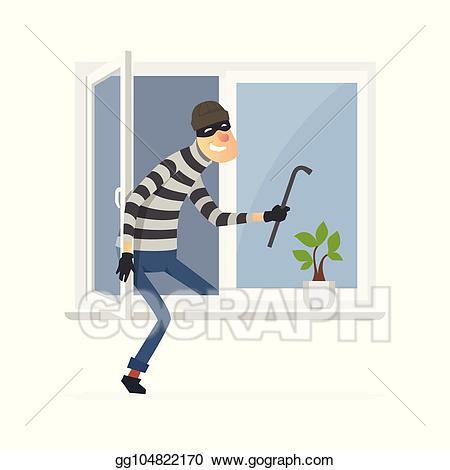 jpg royalty free stock Burglar clipart window. Vector illustration cartoon people.