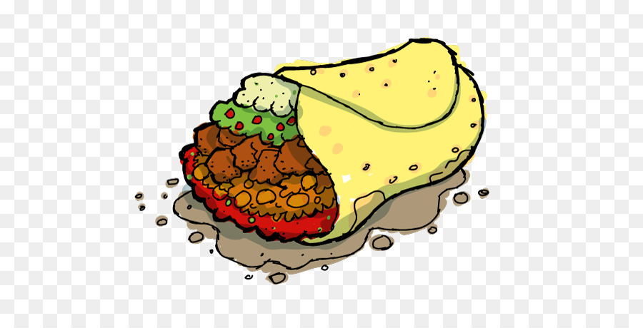 jpg library Burrito clipart transparent background. Taco cartoon illustration food.