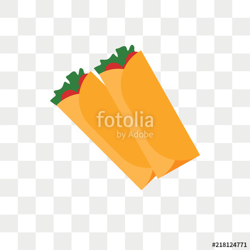 black and white Burrito vector. Icon isolated on transparent.