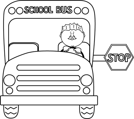 picture library stock Bus black and white. Supermarket clipart outline