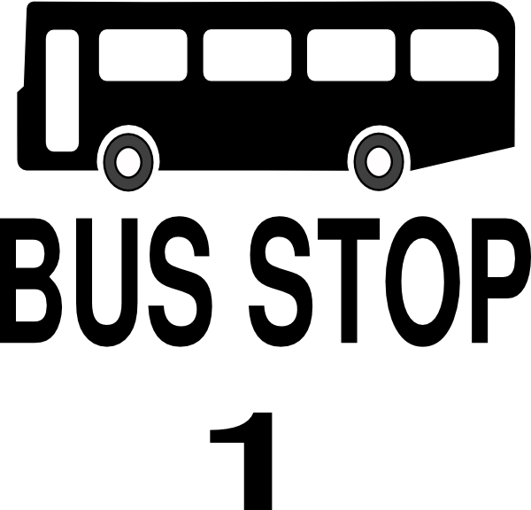 banner library Bus black and white clipart. Stop clip art at