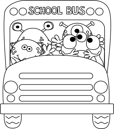 image library library School bus black and white clipart. Image of