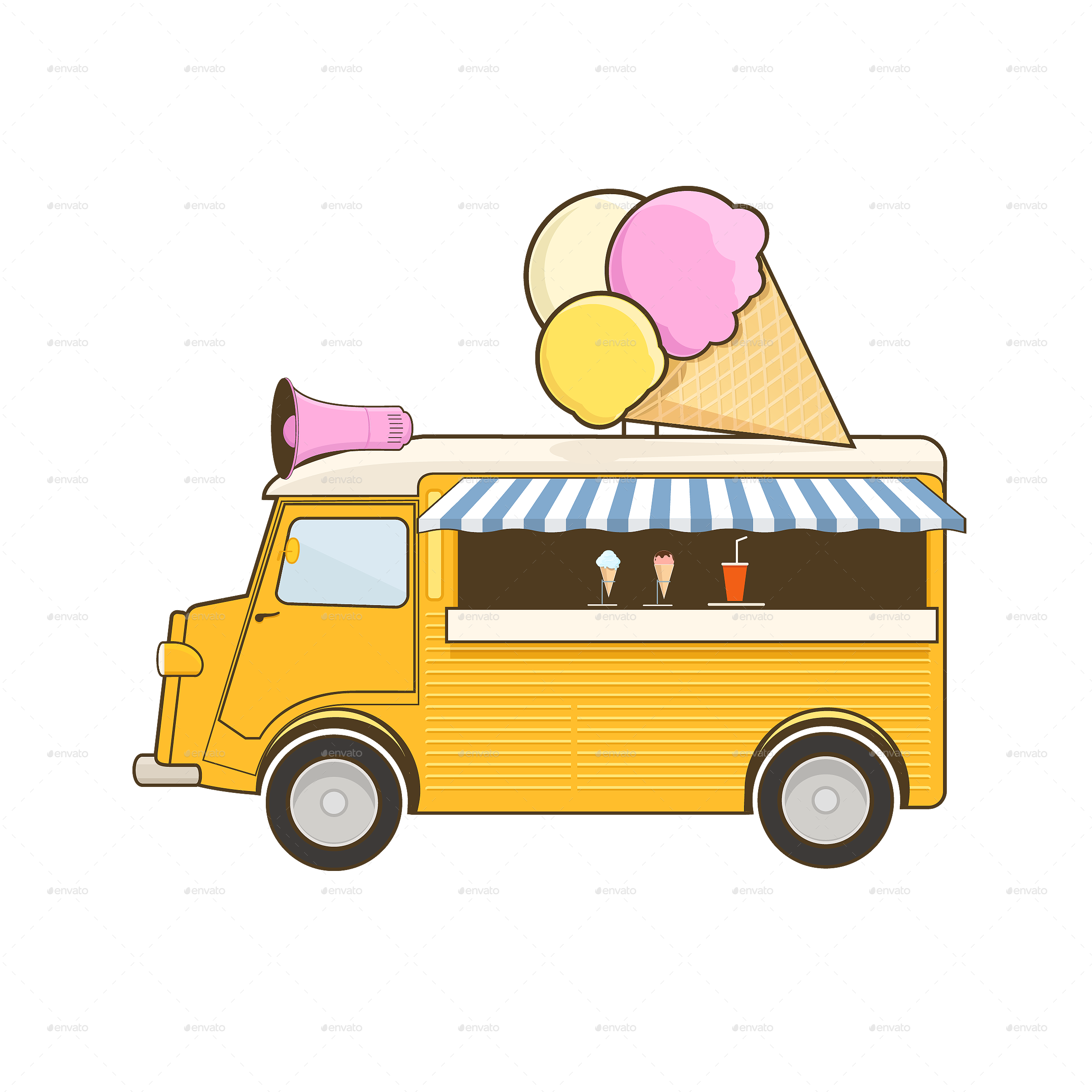 png black and white Vector bus ice cream. Truck by sabina s