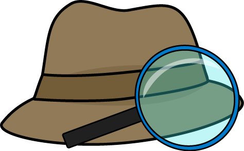 vector black and white download Detective hat and magnifying. Mystery clipart spyglass.