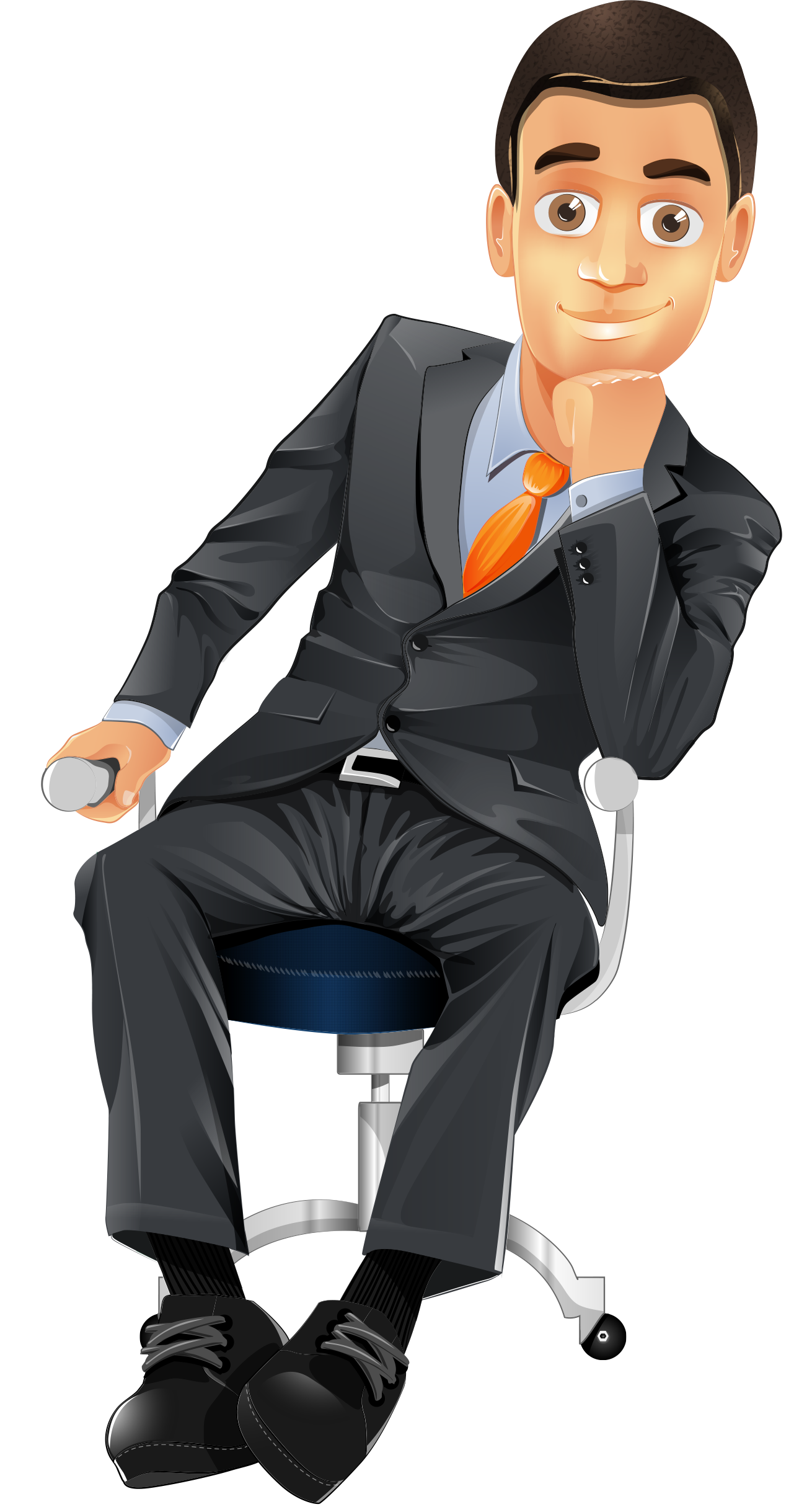 clip art free library Character sitting on a. Vector business businessman