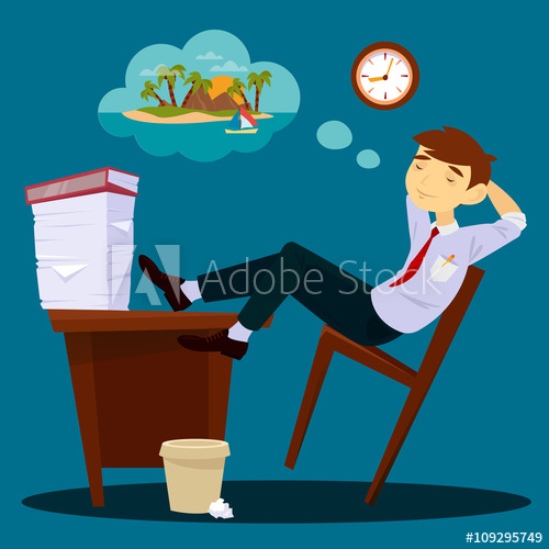 clip art library library Dreaming about vacation . Businessman clipart lazy.