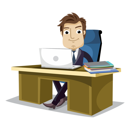 banner transparent library Businessman working at office cartoon png
