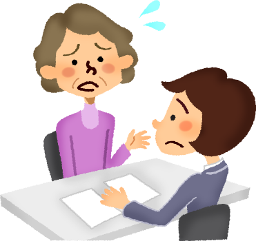 svg transparent library Businessman clipart worried. Senior woman having consultation.