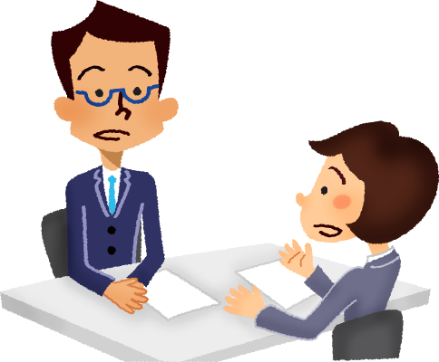 picture royalty free library Businessman clipart worried. And businesswoman having a.
