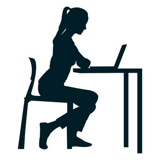 banner freeuse download Working woman silhouette at. Desk vector work