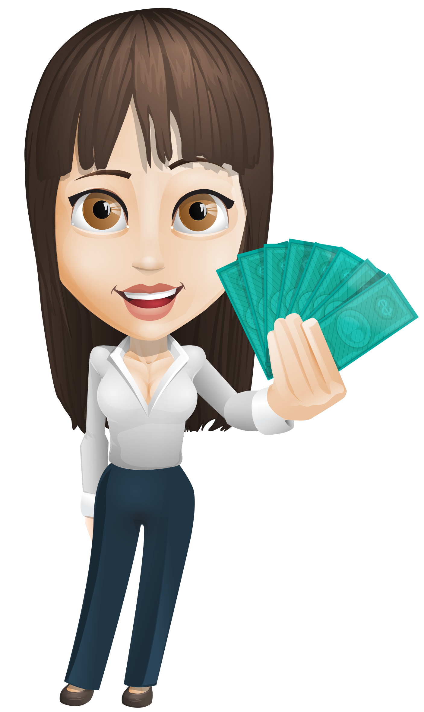 image royalty free download Businesswoman Vector Holding Money
