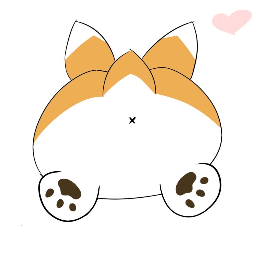 vector stock Butt clipart. Corgi sploot by circlepeeps