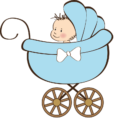 black and white angel in stroller clipart
