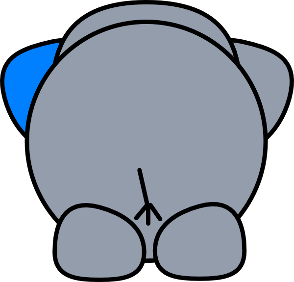 vector black and white library Elephant Butt Clip Art at Clker